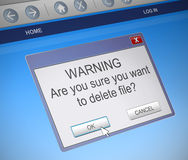 Deleting file concept. Illustration depicting a computer dialogue box with a delete file concept Stock Photography