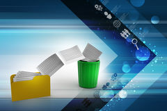 Deleting files from folder to recycle bin. In color background Stock Photo