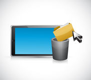 Deleting files form a tablet computer. concept. Illustration design graphic Royalty Free Stock Images