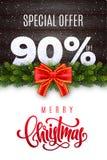 Deletreado de la Feliz Navidad Venta del día de fiesta el 90 por ciento apagado Números de nieve en el fondo de madera con la gui stock de ilustración