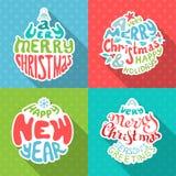 Deletreado de la Feliz Navidad y de la Feliz Año Nuevo Imagenes de archivo
