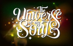 deletreado diseño de la tipografía en fondo abstracto del espacio abierto Starfield, universo, nebulosa en galaxia Imagen de archivo