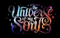 deletreado diseño de la tipografía en fondo abstracto del espacio abierto Starfield, universo, nebulosa en galaxia Fotografía de archivo libre de regalías