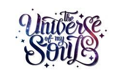 deletreado diseño de la tipografía en fondo abstracto del espacio abierto Starfield, universo, nebulosa en galaxia Foto de archivo