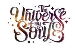 deletreado diseño de la tipografía en fondo abstracto del espacio abierto Starfield, universo, nebulosa en galaxia Fotografía de archivo