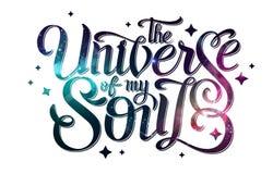 deletreado diseño de la tipografía en fondo abstracto del espacio abierto Starfield, universo, nebulosa en galaxia Imagenes de archivo