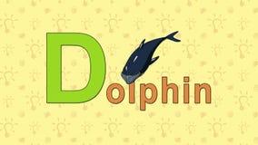 delfín Alfabeto inglés del PARQUE ZOOLÓGICO - letra D stock de ilustración
