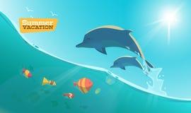 Delfín con los pescados Imagen de archivo libre de regalías