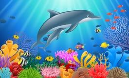 Delfín de la historieta con el coral stock de ilustración