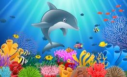 Delfín de la historieta con el coral ilustración del vector