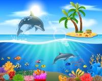 Delfín de la historieta que salta en el océano azul ilustración del vector
