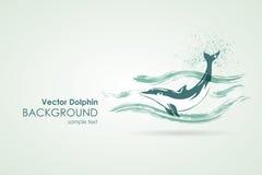 Delfín en chapoteo del agua ilustración del vector