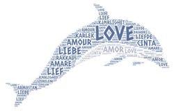 Delfín ilustrado con palabra del amor Fotografía de archivo libre de regalías