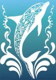 Delfín ornamental azul ilustración del vector