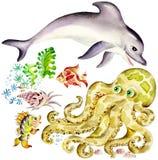 Delfín y pulpo ilustración del vector