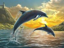 Delfínes de salto stock de ilustración
