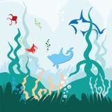 Delfínes y pescados en el mundo subacuático Imagen de archivo