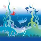 Delfínes y pescados en el mundo subacuático Imágenes de archivo libres de regalías