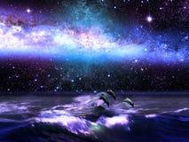 Delfínes y universo ilustración del vector