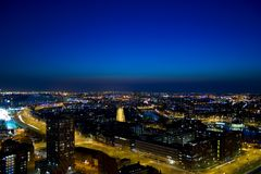 Delfhaven. Night shot of Delfshaven in Rotterdam stock photography