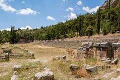 Delfi的,希腊古老体育场 免版税图库摄影