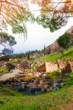Delfi,希腊废墟  免版税库存图片
