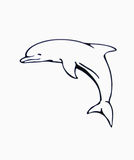 Delfin. Dibujo de un delfin saltando Stock Photo