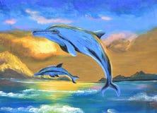 Delfin i den olje- målningen för hav på kanfas Arkivbild