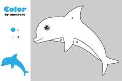 Delfin i tecknad filmstil, färg vid numret, utbildningspapperslek för utvecklingen av barn som färgar sidan, ungeförträning royaltyfri illustrationer