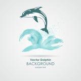 Delfin i vattenfärgstänk Fotografering för Bildbyråer