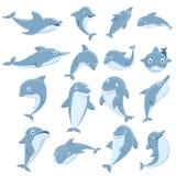 Delfin ikony ustawiać, kreskówka styl ilustracji
