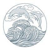 Delfin kropkuje ikonę Obraz Stock