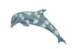 Delfin med blommor Arkivbilder