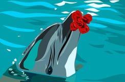 Delfin och blomma i vattnet Royaltyfria Bilder