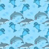 Delfin rodziny i dennego lwa bezszwowy wzór ilustracja wektor