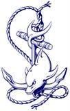 Delfin runt om ett ankare med ett rep, ett forntida symbol av set Royaltyfri Fotografi
