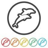 Delfin rybia zwierzęca sylwetka, sylwetka delfin, 6 kolorów Zawierać ilustracji