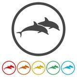 Delfin rybia zwierzęca sylwetka, sylwetka delfin, 6 kolorów Zawierać royalty ilustracja