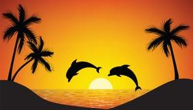 Delfin skacze up od oceanu royalty ilustracja