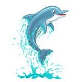 Delfin skacze w wodnych pluśnięciach na bielu Zdjęcia Royalty Free