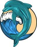 Delfin, som hoppar ut ur havsvatten på vit bakgrund som isoleras också vektor för coreldrawillustration royaltyfri illustrationer