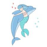 Delfin som kramar den sjöjungfru isolerade vektorillustrationen royaltyfri illustrationer