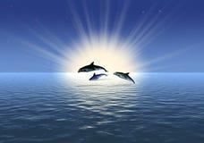 delfin tre stock illustrationer