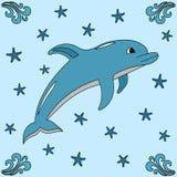 Delfin-, våg- och sjöstjärnaillustration Arkivfoto