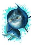 Delfin z dzieckiem troszkę beak dekoracyjnego latającego ilustracyjnego wizerunek swój papierowa kawałka dymówki akwarela Zdjęcie Stock