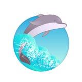 Delfinbad i havsvågorna Royaltyfri Fotografi