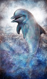 Delfinbanhoppning ut ur havet vektor illustrationer