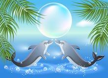 Delfiner hoppar från bevattnar vektor illustrationer