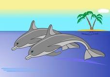 Delfiner och hav stock illustrationer