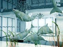 delfiner shoppar stock illustrationer
